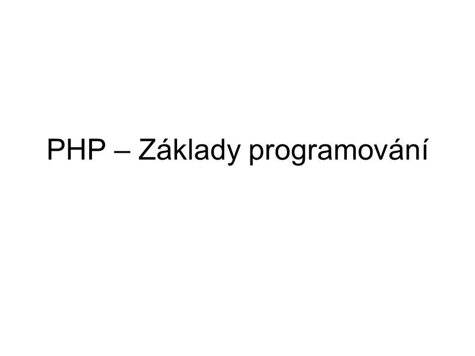 PHP – Základy programování