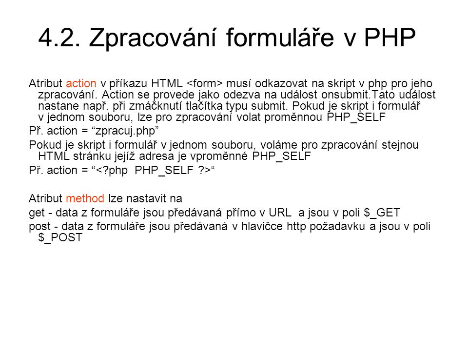 4.2. Zpracování formuláře v PHP