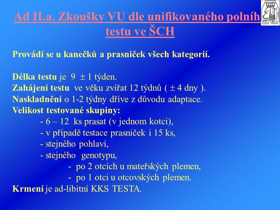 Ad II.a. Zkoušky VU dle unifikovaného polního testu ve ŠCH