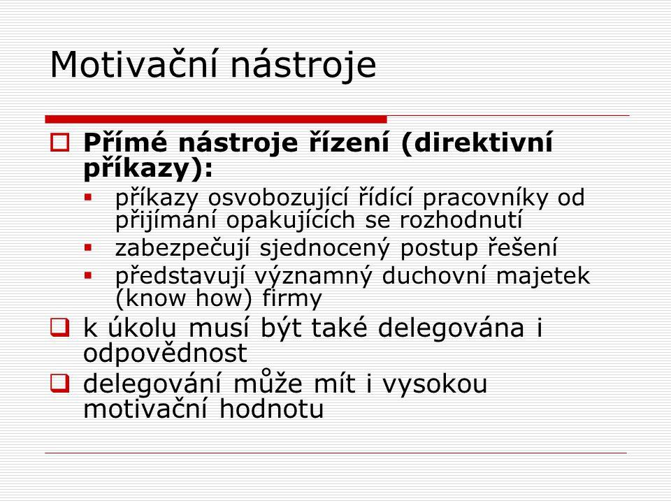 Motivační nástroje Přímé nástroje řízení (direktivní příkazy):