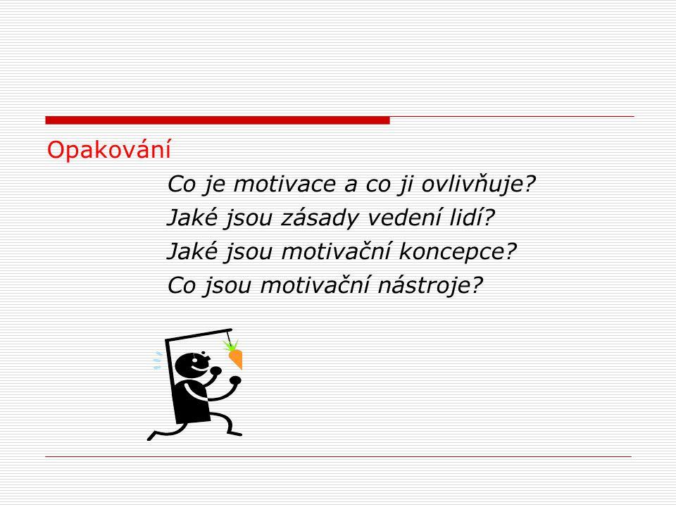 Opakování Co je motivace a co ji ovlivňuje