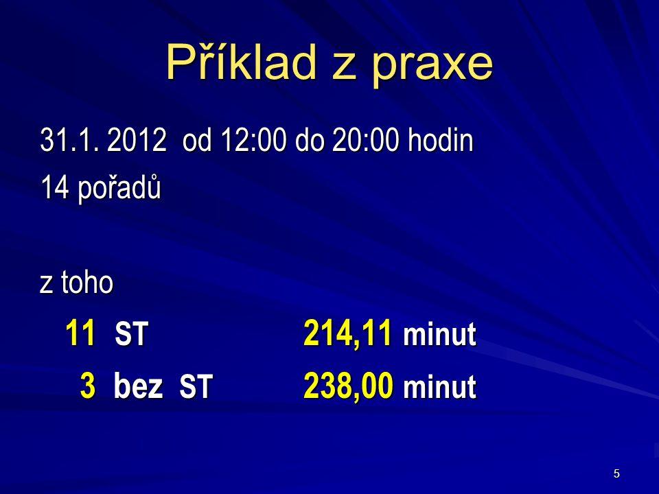 Příklad z praxe 31.1. 2012 od 12:00 do 20:00 hodin 14 pořadů z toho