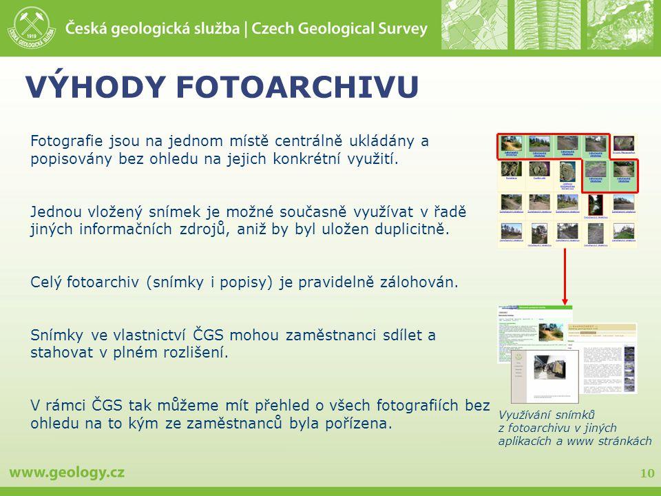 VÝHODY FOTOARCHIVU Fotografie jsou na jednom místě centrálně ukládány a popisovány bez ohledu na jejich konkrétní využití.