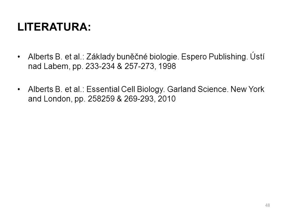 LITERATURA: Alberts B. et al.: Základy buněčné biologie. Espero Publishing. Ústí nad Labem, pp. 233-234 & 257-273, 1998.