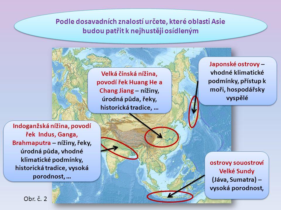 ostrovy souostroví Velké Sundy (Jáva, Sumatra) – vysoká porodnost,