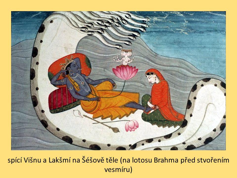 spící Višnu a Lakšmí na Šéšově těle (na lotosu Brahma před stvořením vesmíru)