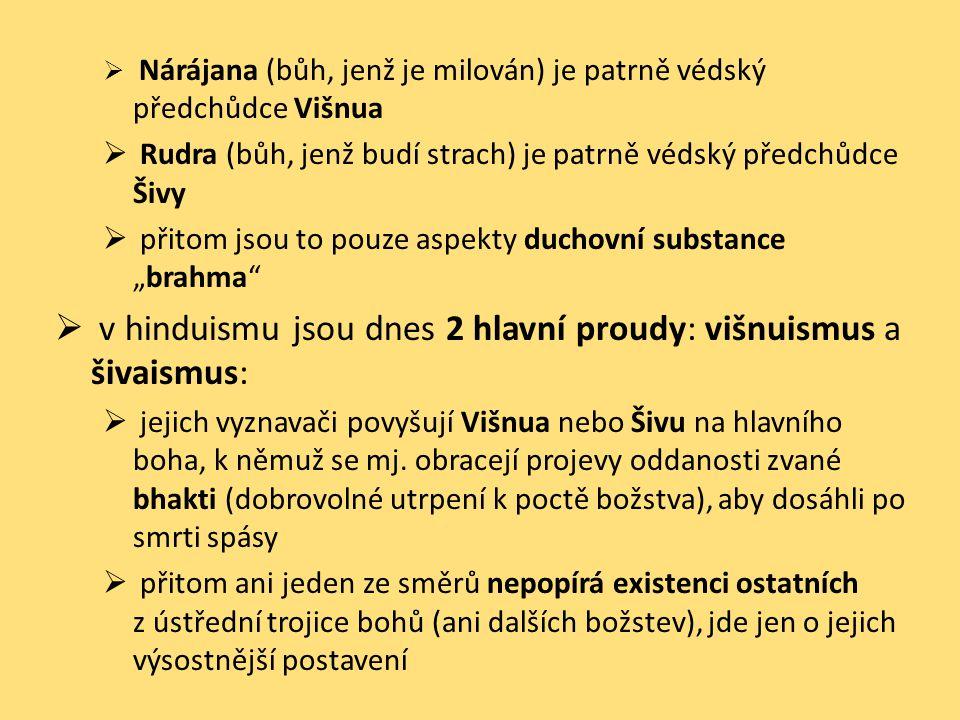 v hinduismu jsou dnes 2 hlavní proudy: višnuismus a šivaismus: