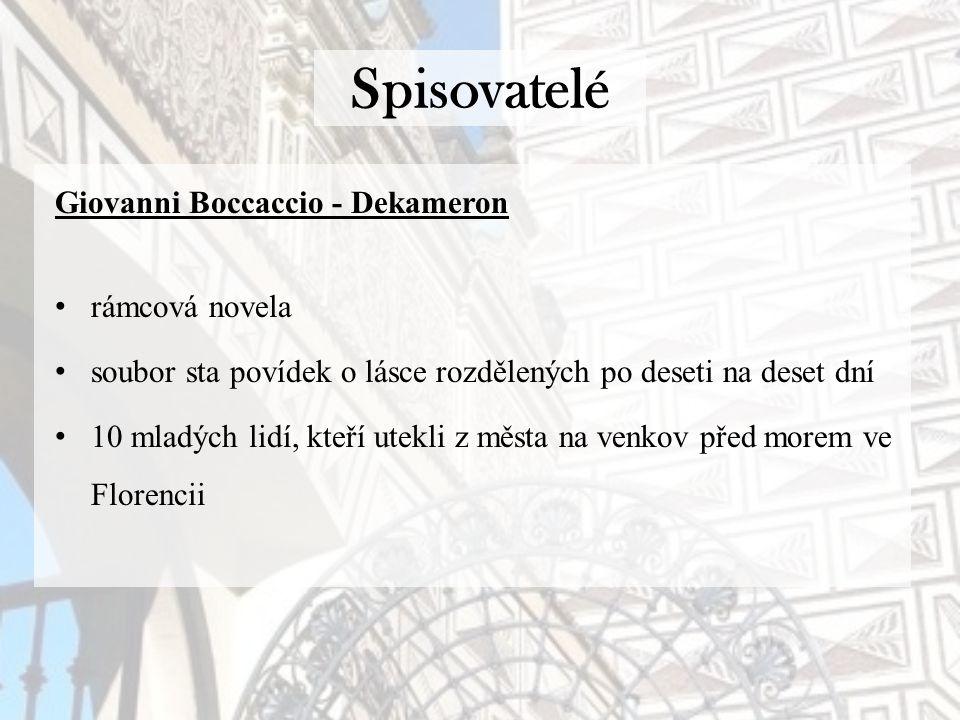 Spisovatelé Giovanni Boccaccio - Dekameron rámcová novela