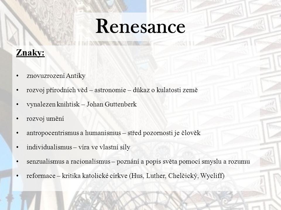 Renesance Znaky: znovuzrození Antiky