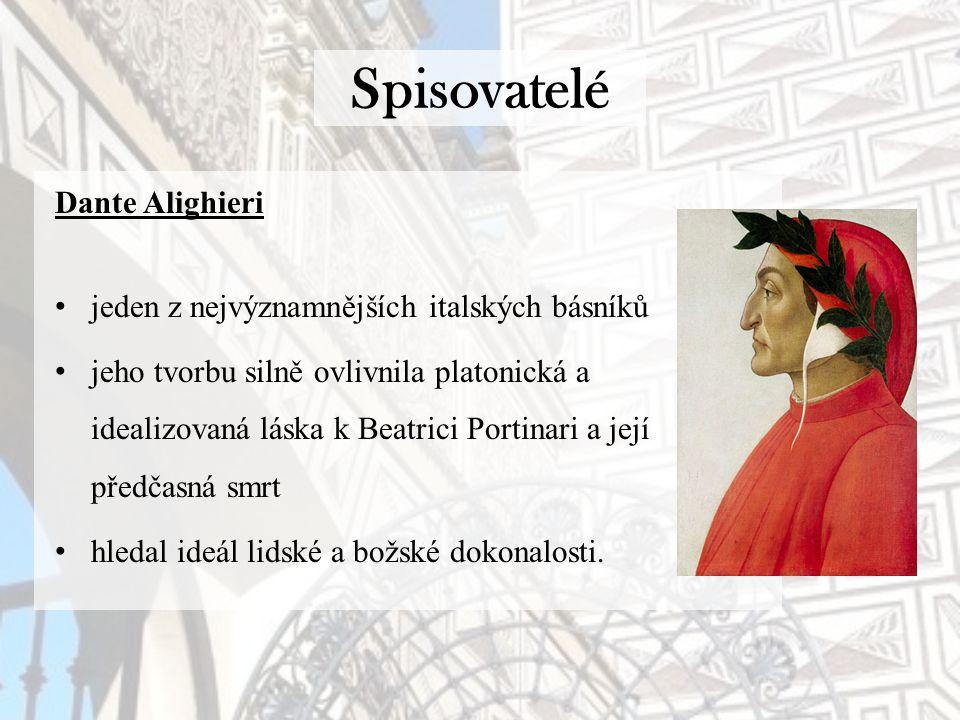 Spisovatelé Dante Alighieri jeden z nejvýznamnějších italských básníků