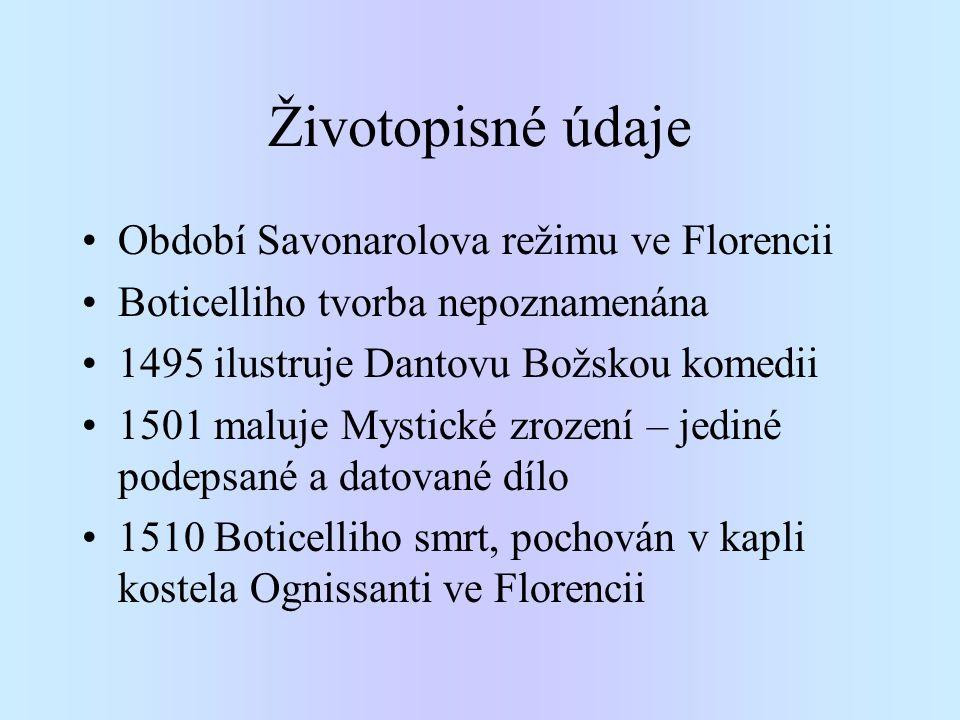 Životopisné údaje Období Savonarolova režimu ve Florencii