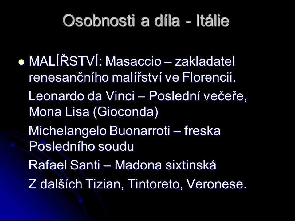 Osobnosti a díla - Itálie