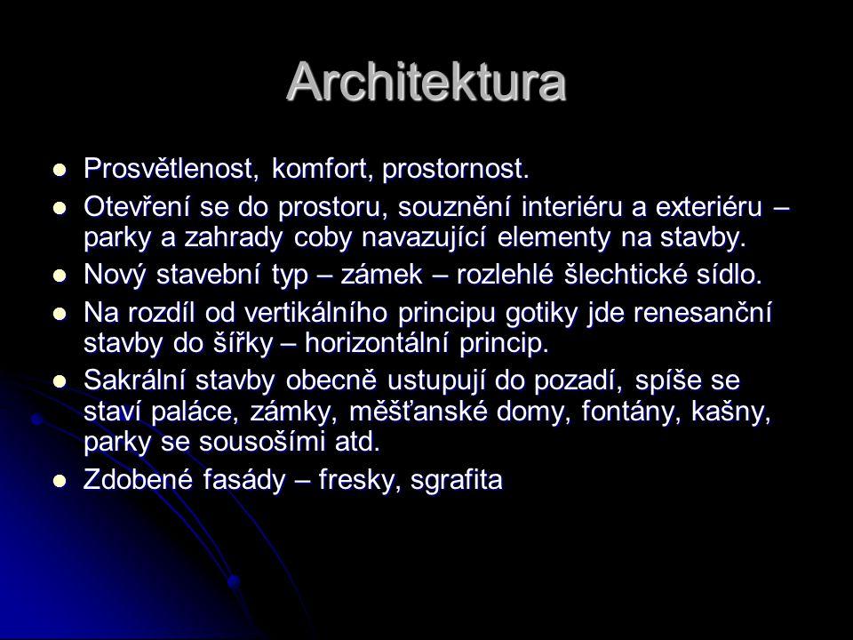 Architektura Prosvětlenost, komfort, prostornost.