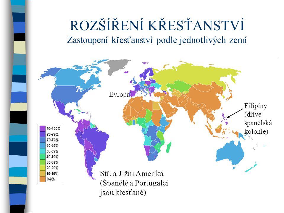 ROZŠÍŘENÍ KŘESŤANSTVÍ Zastoupení křesťanství podle jednotlivých zemí