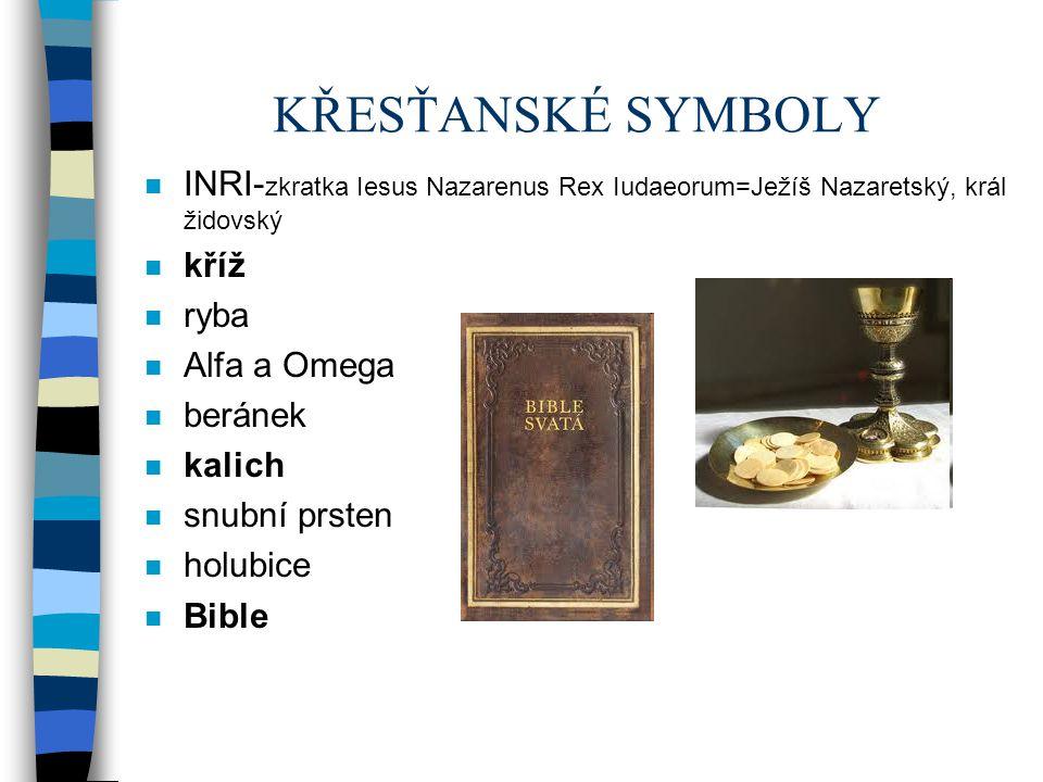 KŘESŤANSKÉ SYMBOLY INRI-zkratka Iesus Nazarenus Rex Iudaeorum=Ježíš Nazaretský, král židovský. kříž.