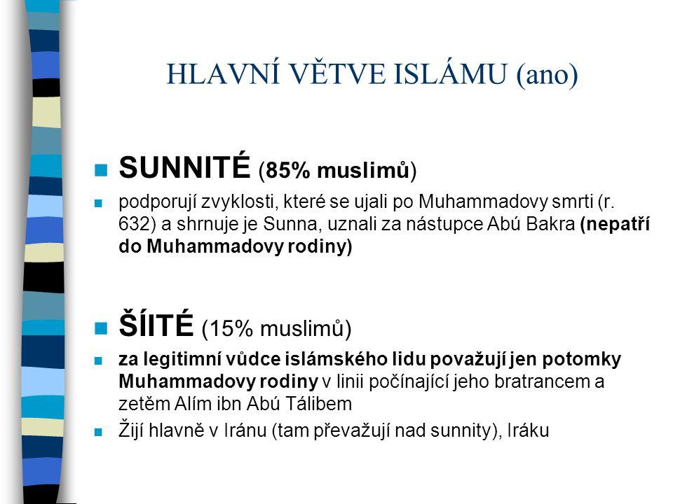HLAVNÍ VĚTVE ISLÁMU (ano)