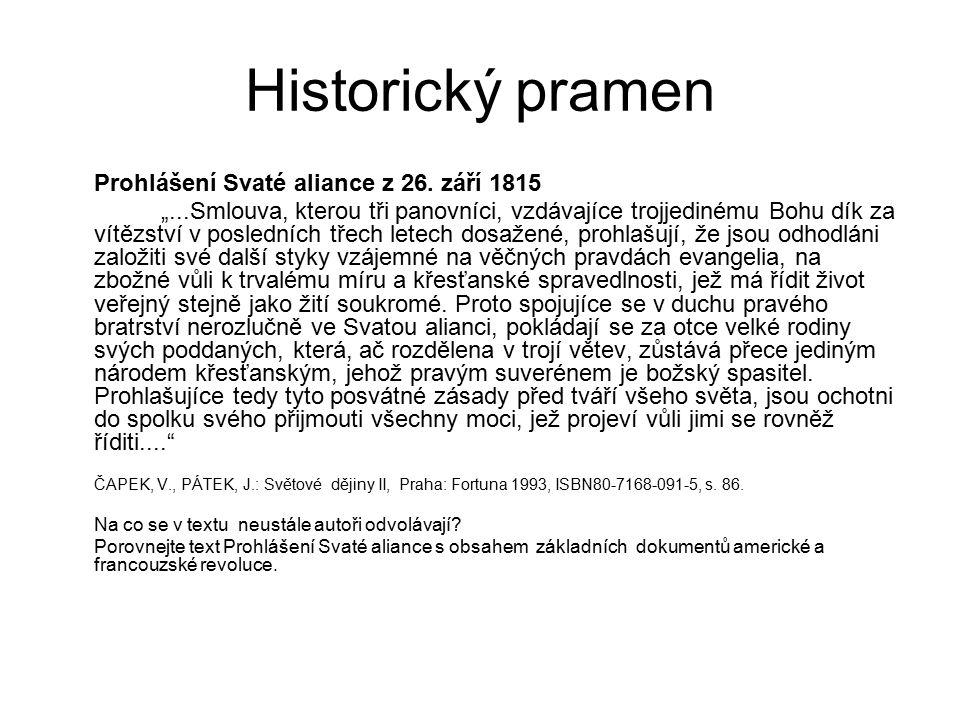 Historický pramen Prohlášení Svaté aliance z 26. září 1815