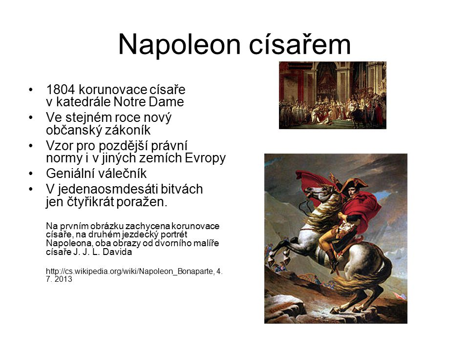 Napoleon císařem 1804 korunovace císaře v katedrále Notre Dame
