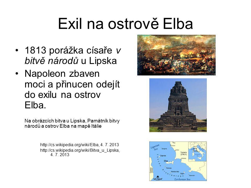 Exil na ostrově Elba 1813 porážka císaře v bitvě národů u Lipska