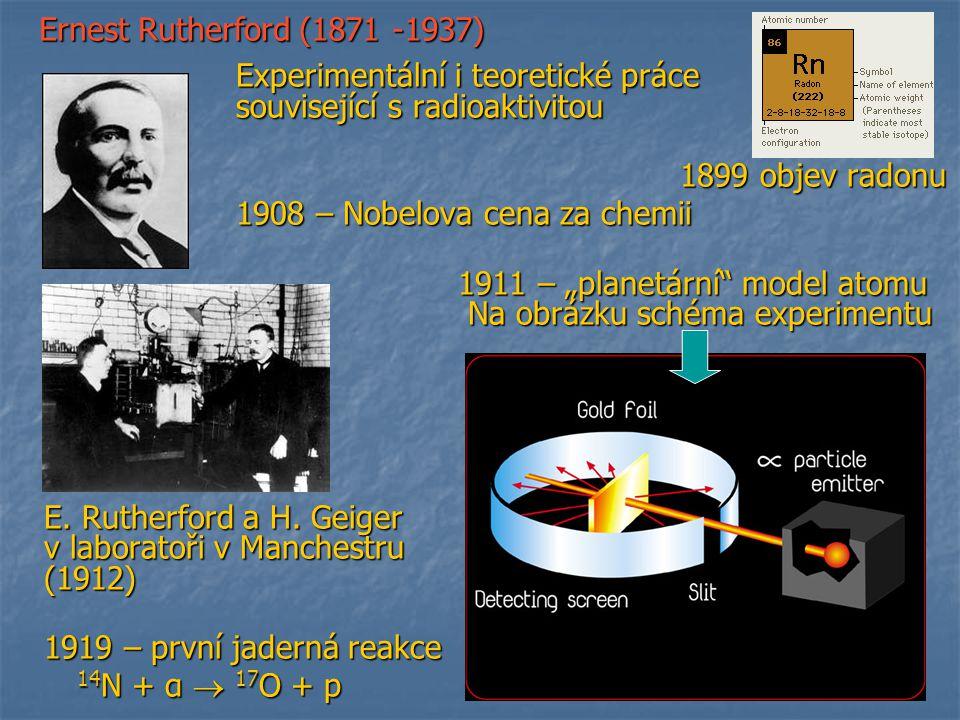 související s radioaktivitou 1899 objev radonu