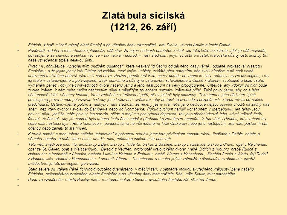Zlatá bula sicilská (1212, 26. září)