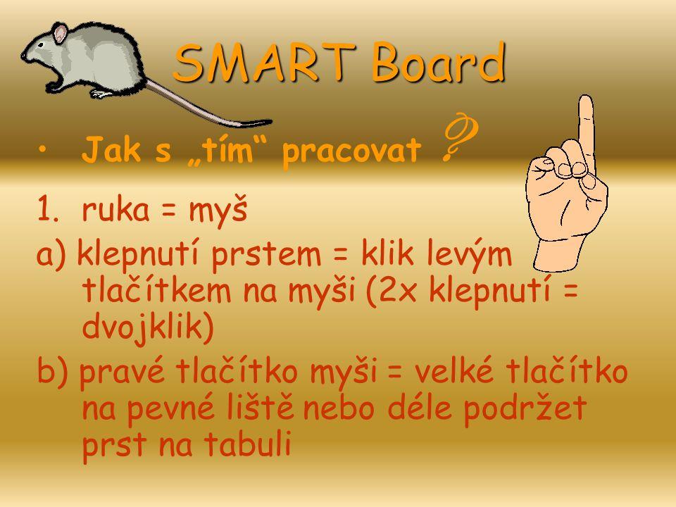 """SMART Board Jak s """"tím pracovat ruka = myš"""