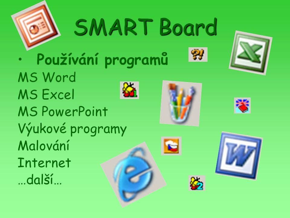 SMART Board Používání programů MS Word MS Excel MS PowerPoint