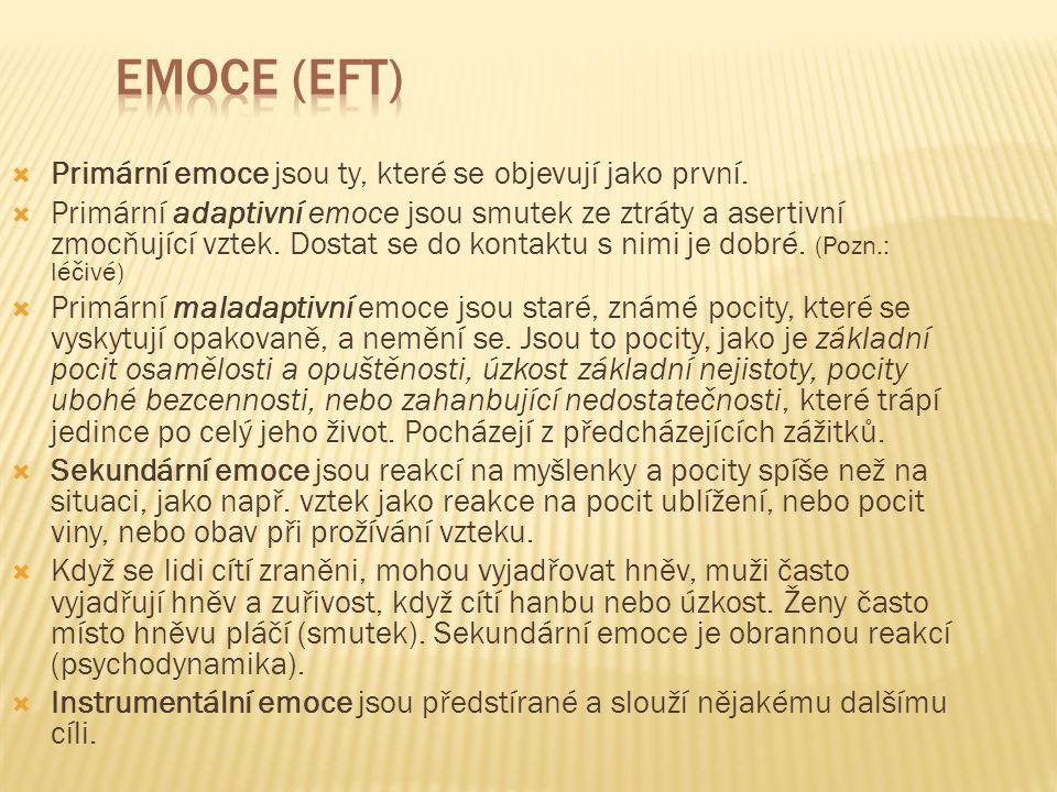 Emoce (EFT) Primární emoce jsou ty, které se objevují jako první.
