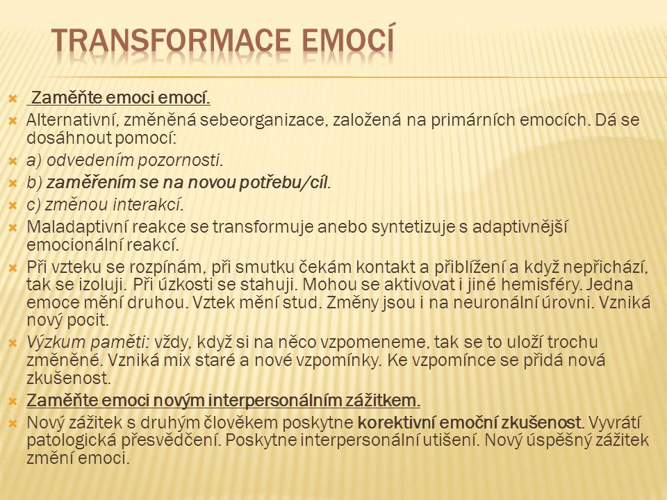 Transformace emocí Zaměňte emoci emocí.