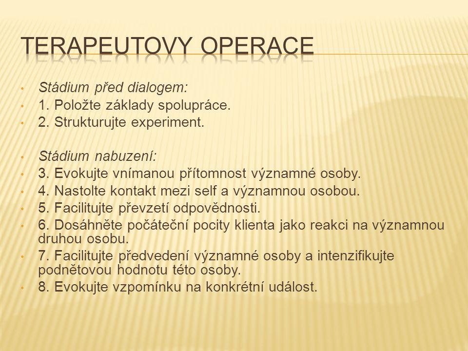 Terapeutovy operace Stádium před dialogem: