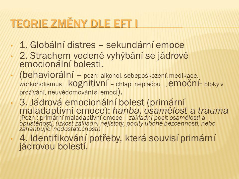 Teorie změny dle EFT I 1. Globální distres – sekundární emoce