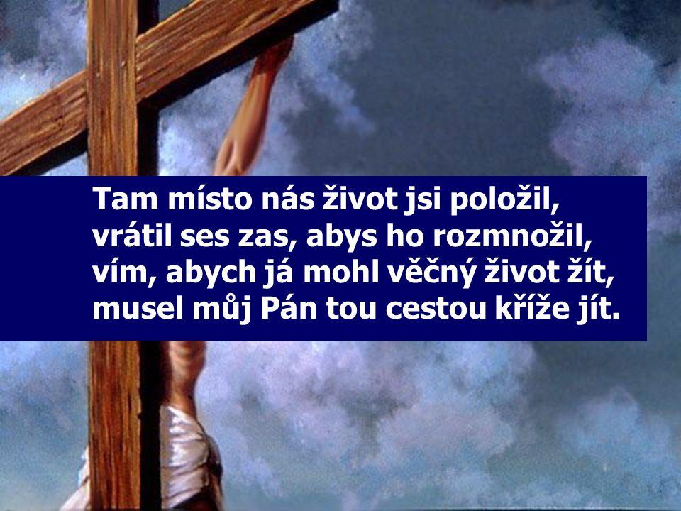 Tam místo nás život jsi položil, vrátil ses zas, abys ho rozmnožil, vím, abych já mohl věčný život žít, musel můj Pán tou cestou kříže jít.