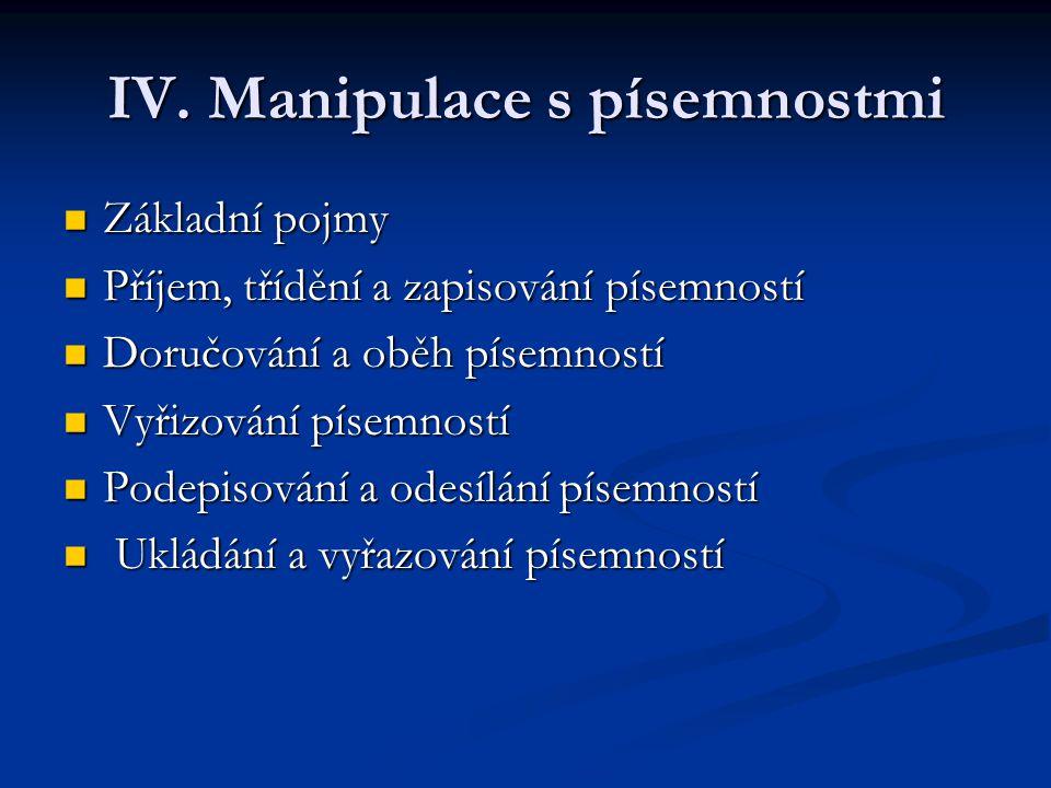 IV. Manipulace s písemnostmi