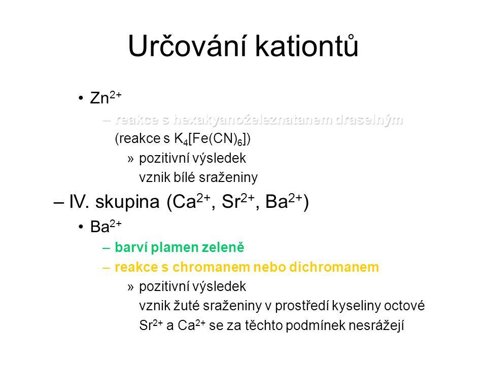 Určování kationtů IV. skupina (Ca2+, Sr2+, Ba2+) Zn2+ Ba2+