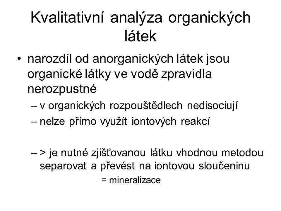 Kvalitativní analýza organických látek