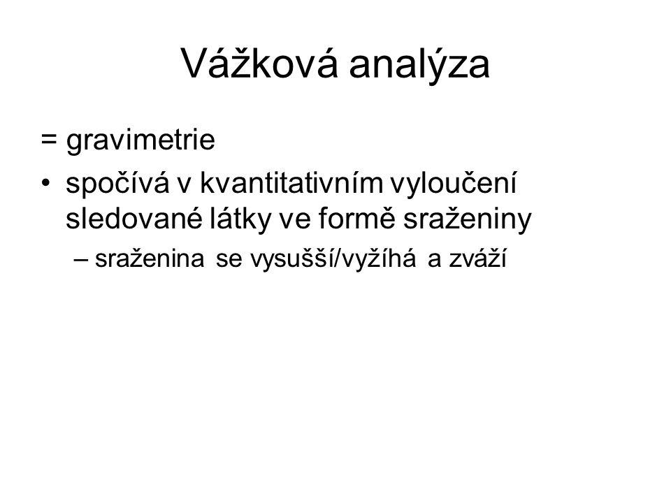 Vážková analýza = gravimetrie