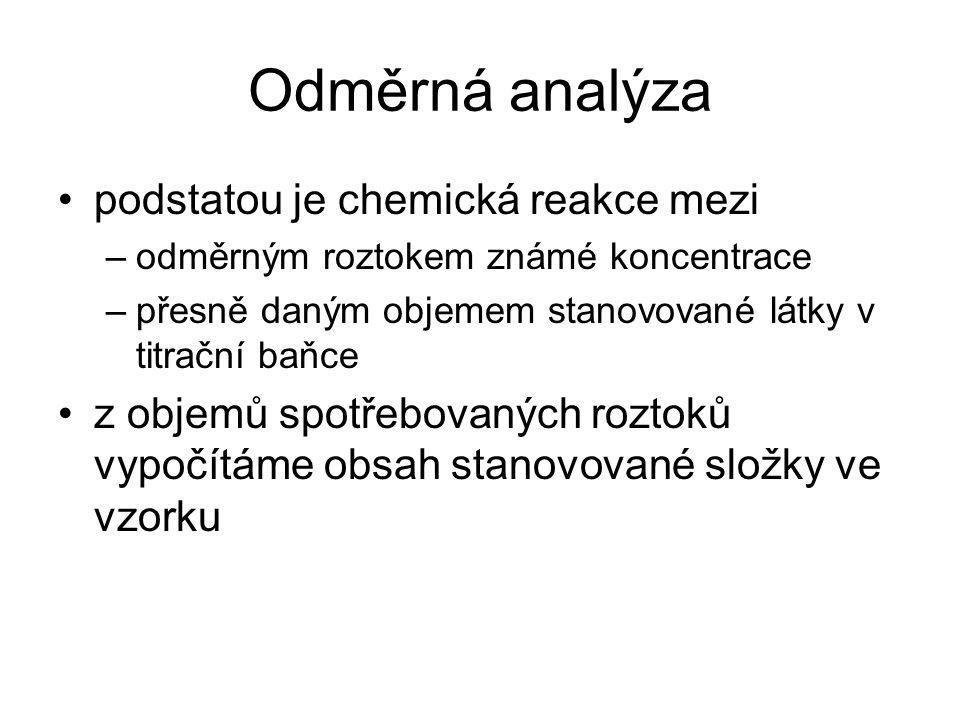 Odměrná analýza podstatou je chemická reakce mezi