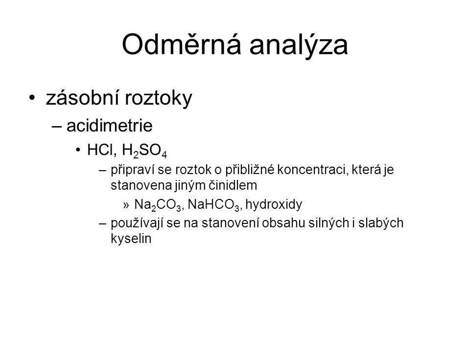 Odměrná analýza zásobní roztoky acidimetrie HCl, H2SO4