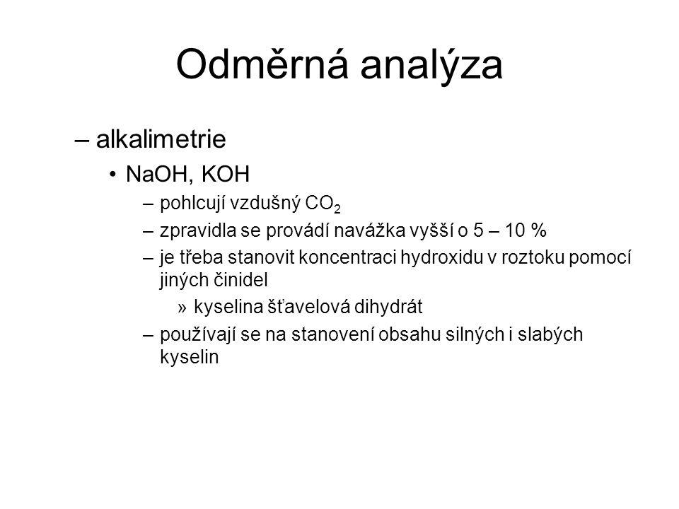 Odměrná analýza alkalimetrie NaOH, KOH pohlcují vzdušný CO2