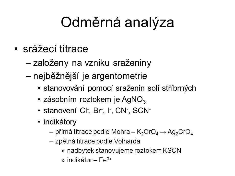 Odměrná analýza srážecí titrace založeny na vzniku sraženiny
