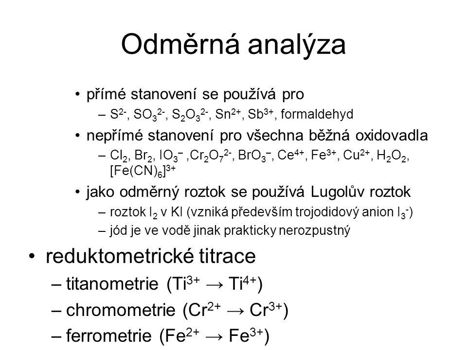 Odměrná analýza reduktometrické titrace titanometrie (Ti3+ → Ti4+)