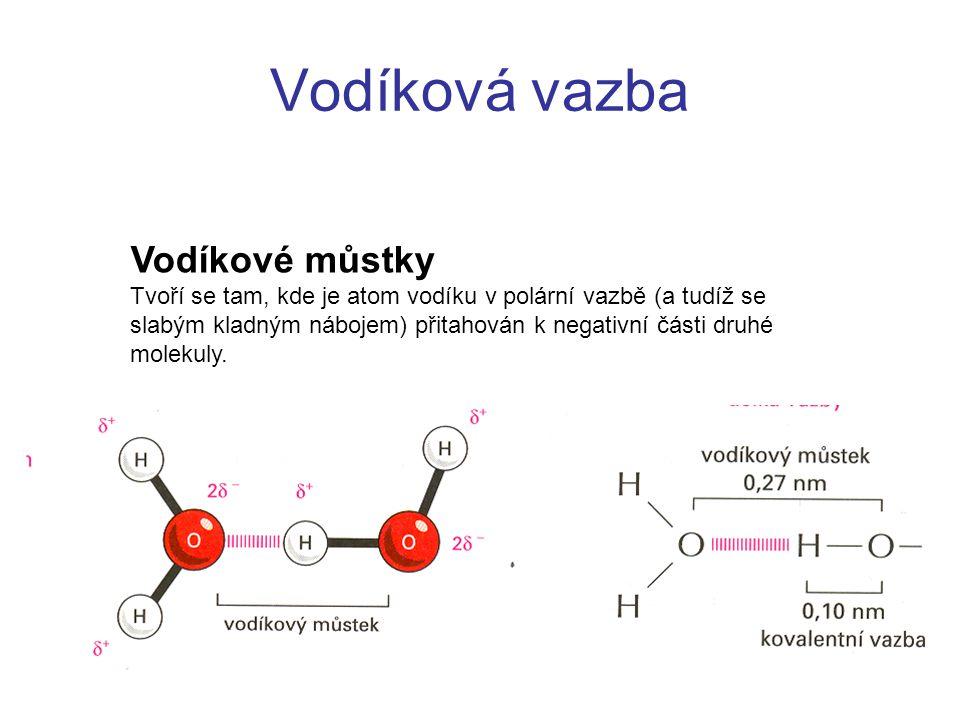 Vodíková vazba Vodíkové můstky