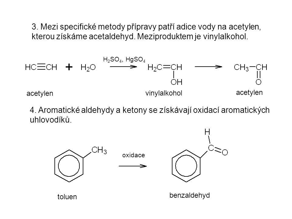 3. Mezi specifické metody přípravy patří adice vody na acetylen, kterou získáme acetaldehyd. Meziproduktem je vinylalkohol.