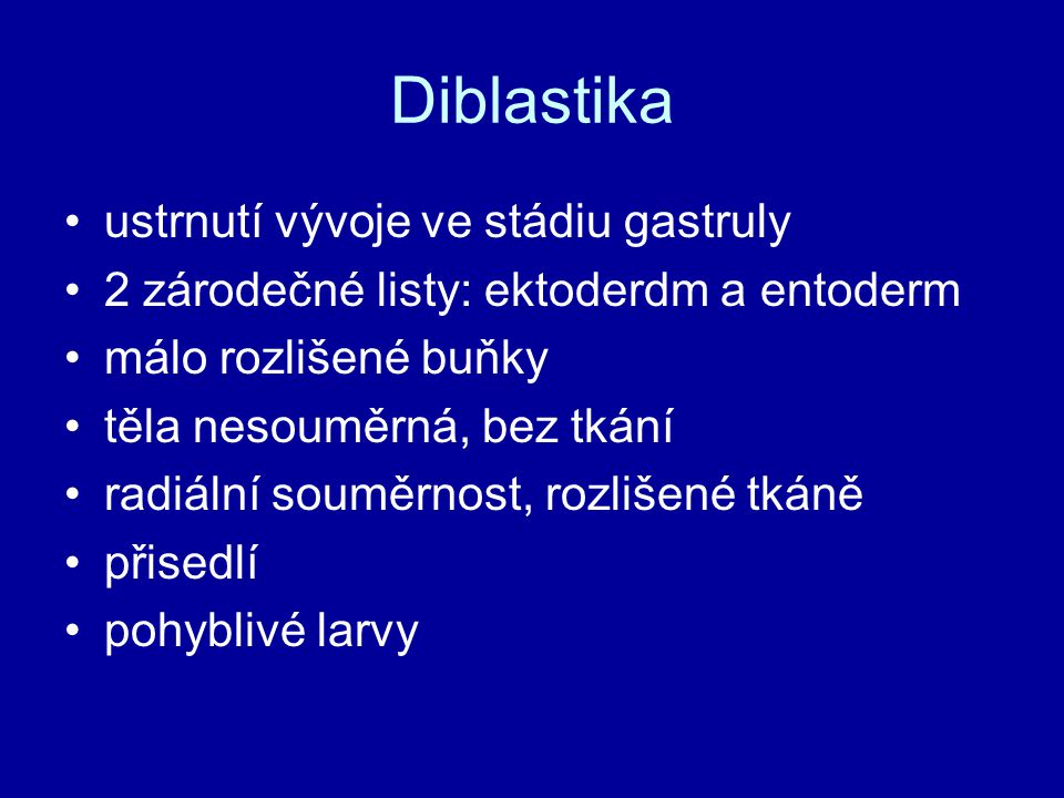 Diblastika ustrnutí vývoje ve stádiu gastruly
