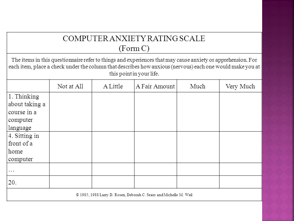 COMPUTER ANXIETY RATING SCALE (Form C)