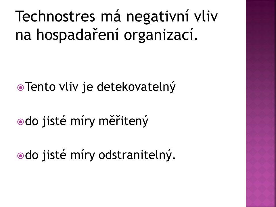 Technostres má negativní vliv na hospadaření organizací.