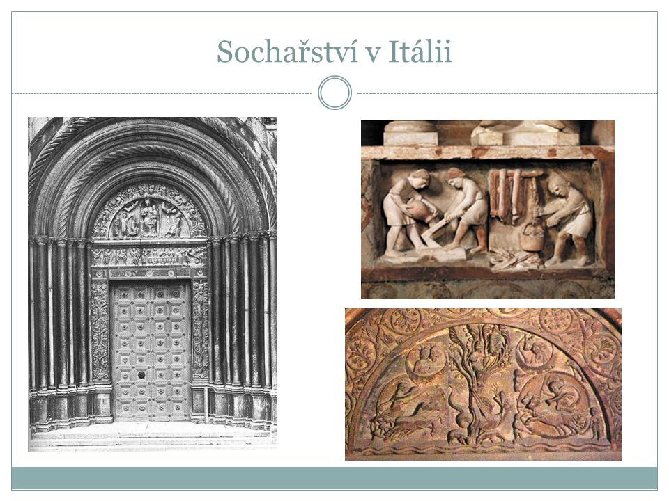Sochařství v Itálii Benedetto Antelami: portál, detaily