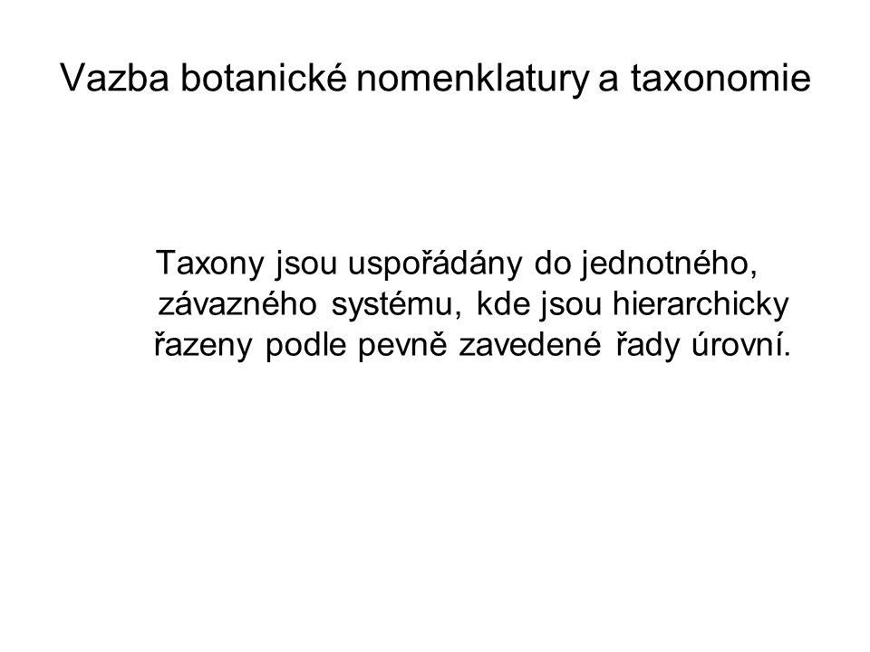 Vazba botanické nomenklatury a taxonomie