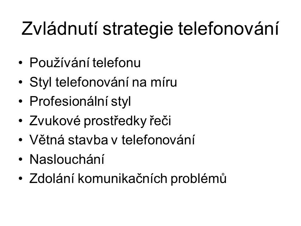 Zvládnutí strategie telefonování