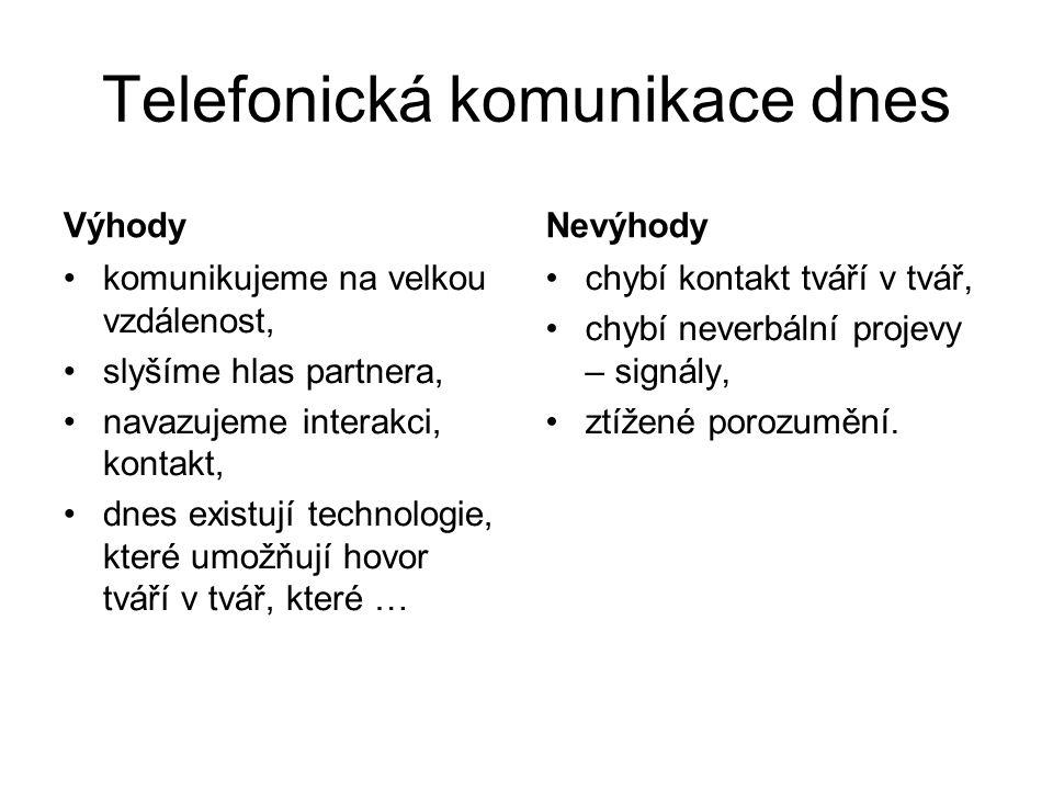 Telefonická komunikace dnes